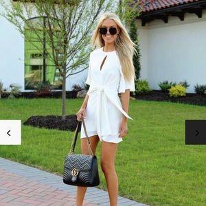 Brand New White Tie Keyhole Dress